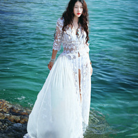 [LYNETTE'S CHINOISERIE MOK ] Spring Summer New Original Design Women Europe Style Embroidery Lace Twinset Romantic White Dress