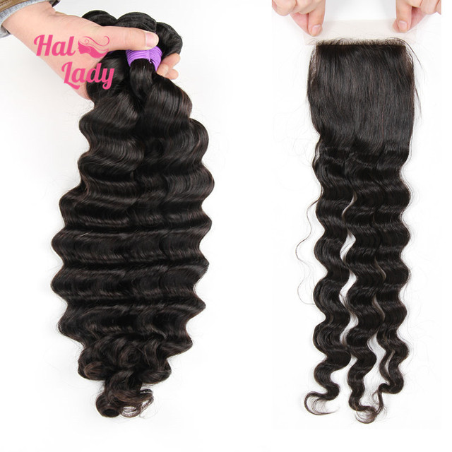 7A Halo Lady 2 or 3 or 4 Pcs Peruvian Loose Deep Wave Virgin Hair Bundles With Closure 4x4 Loose Deep Wave With Lace Top Closure