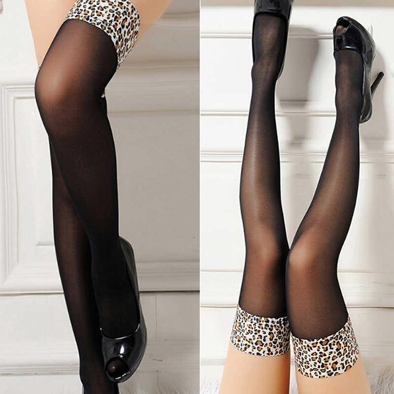 Фото Сексуальные женские чулки прозрачные кружевные высокие леопардовые для