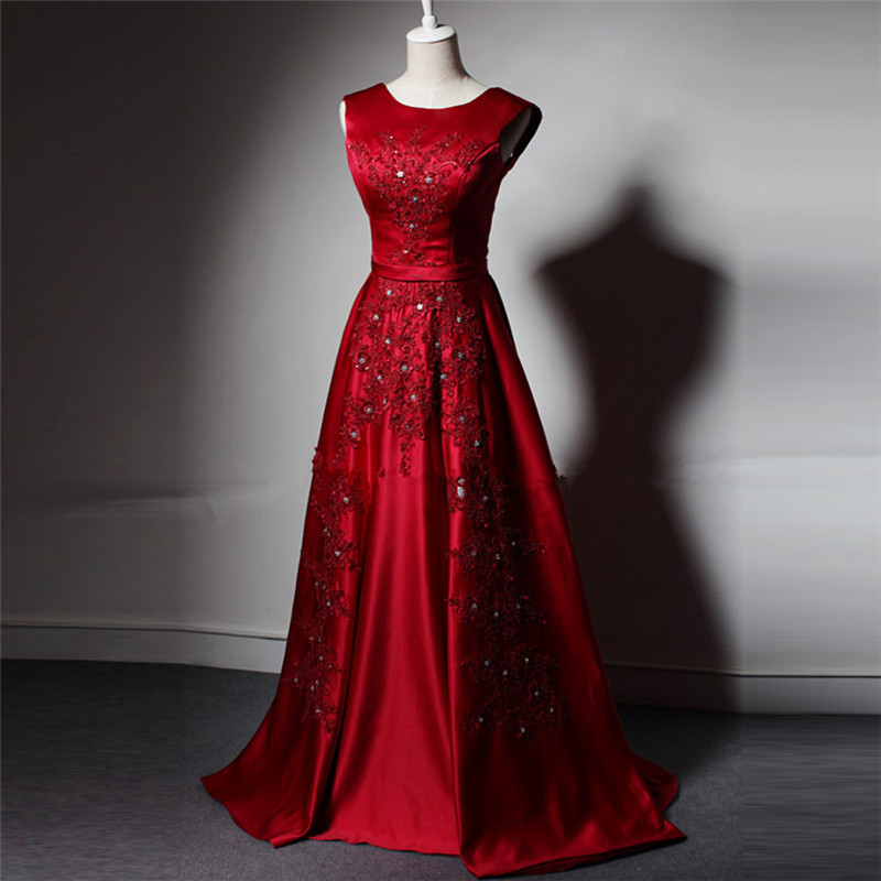 Real Sample Long Red Ball Gown Evening Dress 2015 Scoop Neck Lace ...