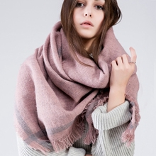 2016 Brand Women Scarf font b Tartan b font Winter Scarf For Female Wool Tassels Solid