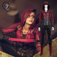 Green Arrow Season 4 Thea Queen Cosplay Costume For Adult Women Red Arrow Speedy Cosplay Costume Superhero leather Hoodie