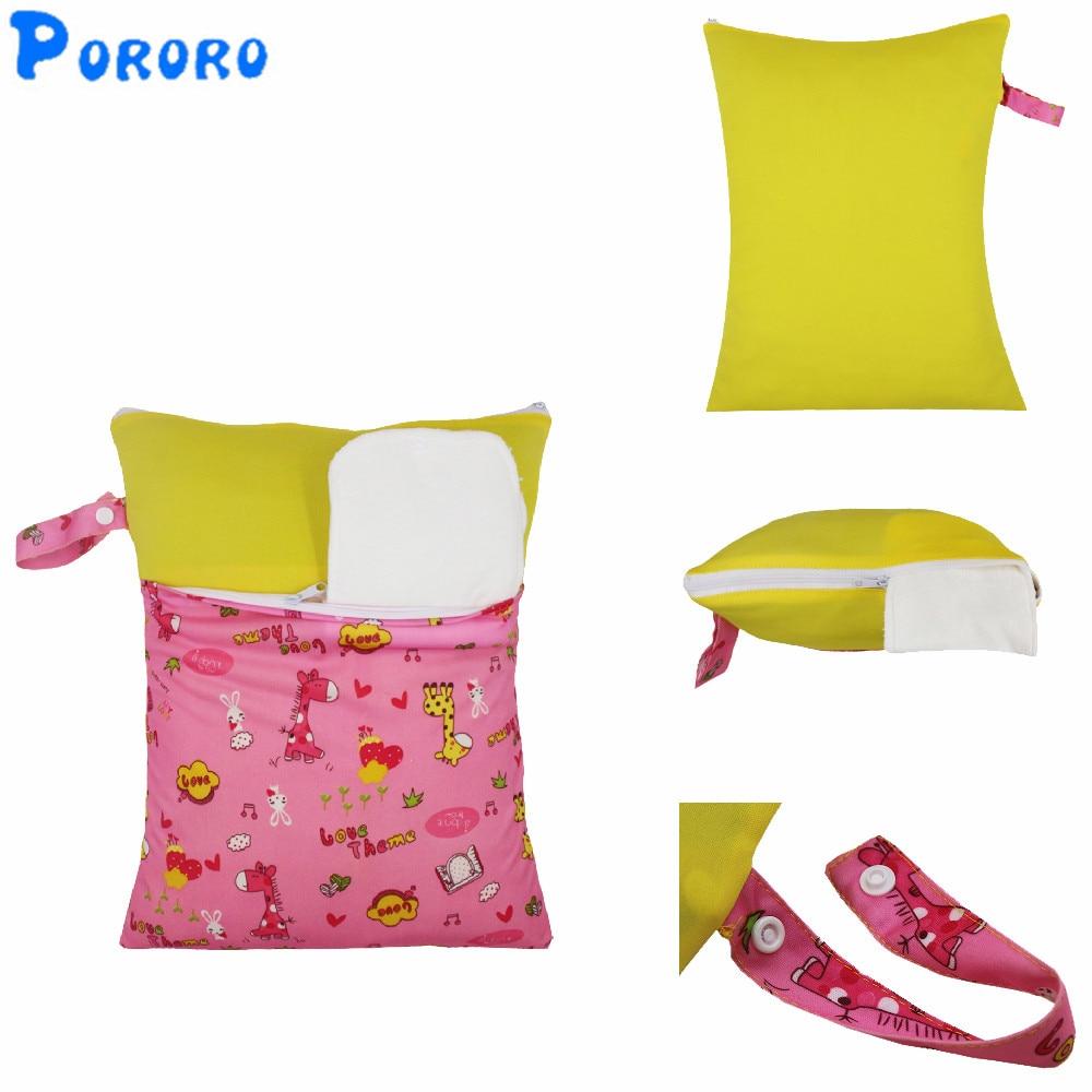 30x40 सेमी धो सकते हैं बेबी सूखी डायपर बैग लंगोट पुन: प्रयोज्य निविड़ अंधकार चिथड़े डबल जेब कपड़े डायपर गीला सूखी गीले बैग