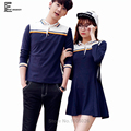 2016 Summer Hot Sale Preppy Style Korean Couple Clothes Lovers Holiday Slim Cute Sweet Stripe Matching Couple T Shirts 3XL 4XL