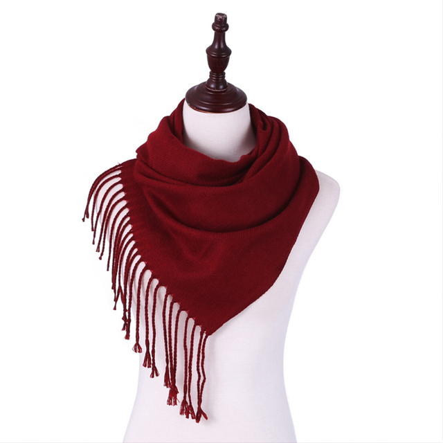 Evrfelan New Winter Scarf Women Simple Pure Color Thick Warm Scarves Tassel Female Knitted Shawl Wrap Clothing Accessories