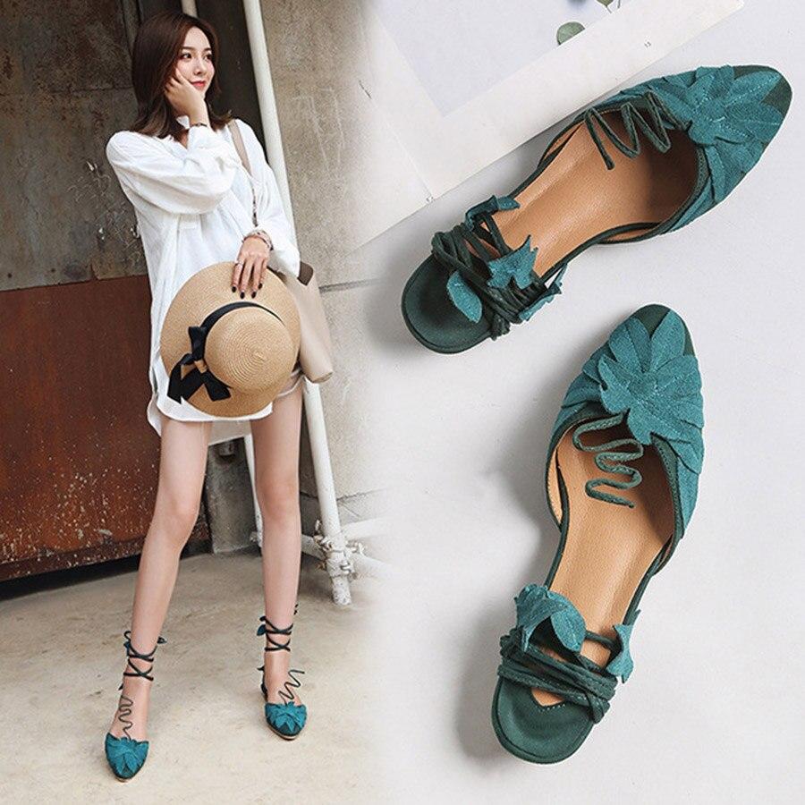 De Dame Qualité Haute Spectacle Spécial Mode Plat Chaussures Élégante Nouveau Forme Fond Vert Femmes Feuille Sandales Belles attaché Croix g4Rqpwz
