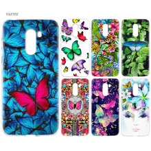 YAETEE Colorful Beautiful pink blue butterfly Flowers Silicone Case for Xiaomi Pocophone f1 Mi A2 Lite A1 Redmi Note 4X 5 5A 6 P