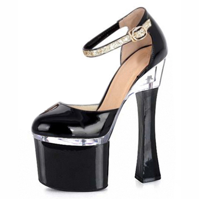 ФОТО hot sell new women's ladies fashion high heels black party shoes 18cm sexy Exotic Dancer shoes Dress shoes
