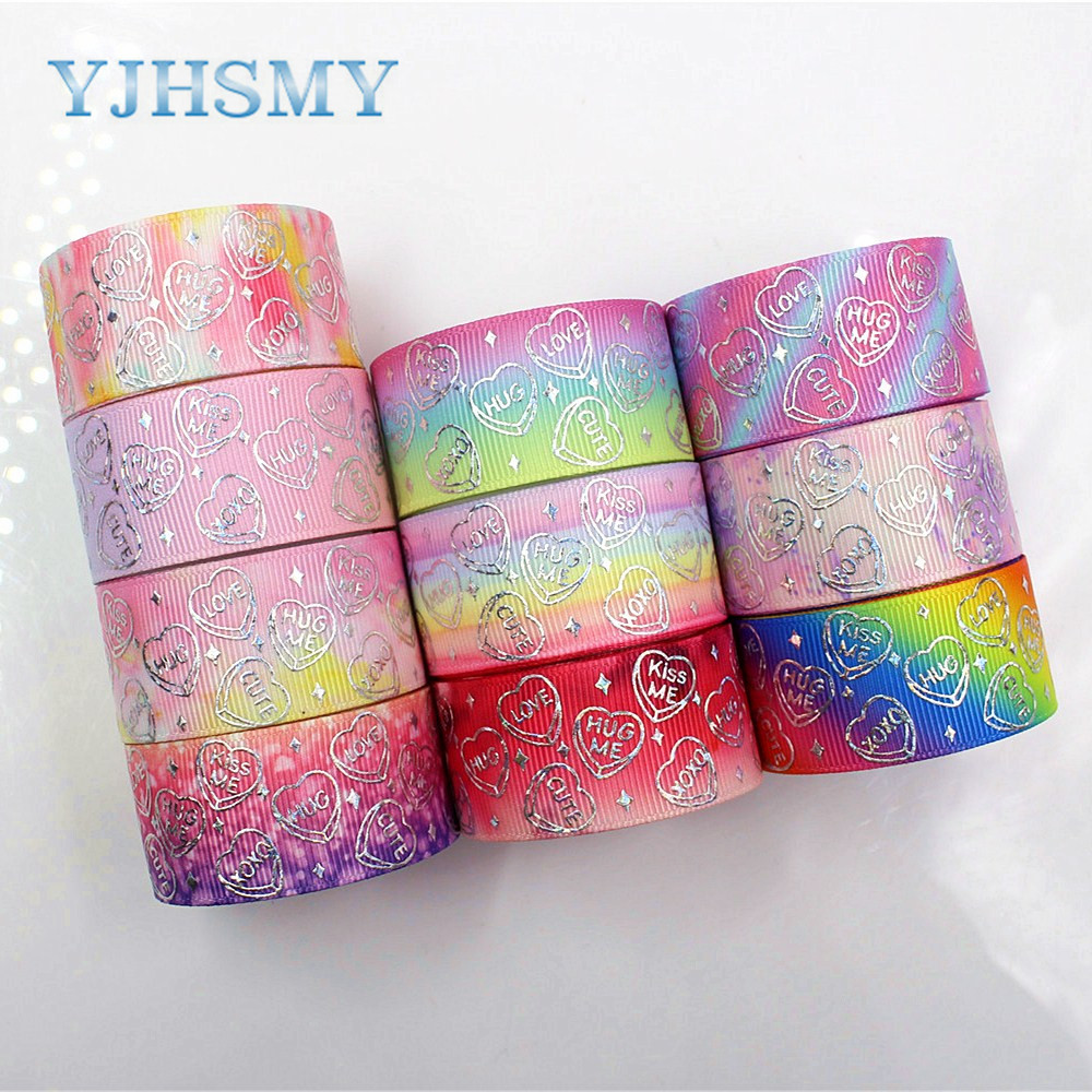 YJHSMY D-18407-649,<font><b>25</b></font> mm <font><b>10</b></font> yards Love silver foil Ribbons Thermal transfer Printed grosgrain Wedding Accessories DIY materials image