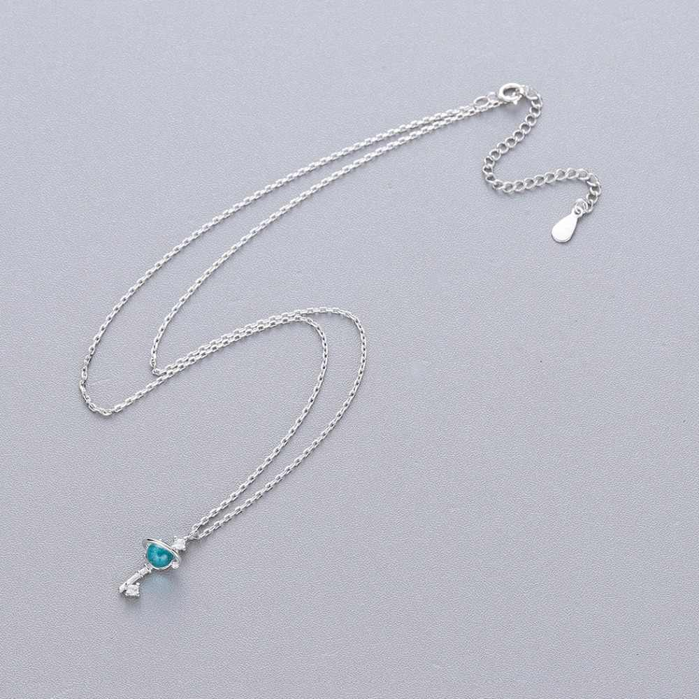QIMING Magic Stick бусинами замок кулон Цепочки и ожерелья для Для женщин S925 Silver Crystal Blue Зеленая планета Модные украшения Бохо Цепочки и ожерелья s