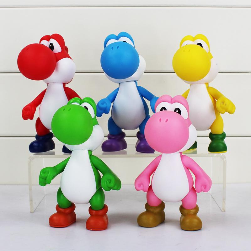 Super Mario Yoshi PVC Action Figure Yoshi 5 colors Toy Yoshi Arm Can Move Doll Gift 5inch Retail