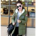 2015 толстые женщины парки женщин ватные куртки верхняя одежда мода хлопка-ватник средний - длинное пальто армия зеленый Q644