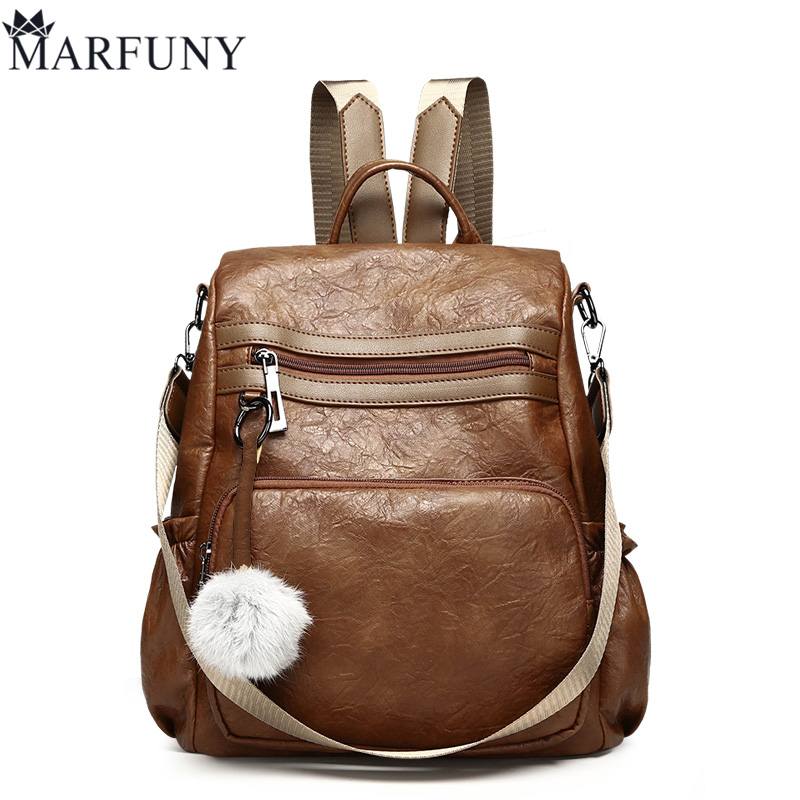 Vintage Women Backpack Female Bag High Quality Pu Leather Backpack Women Solid Backpacks For Girls Shoulder Bag Hairball Daypack wellvo women solid vintage backpacks for teenager girls black multifunctional backpack new designed high quality rucksack xa84wb