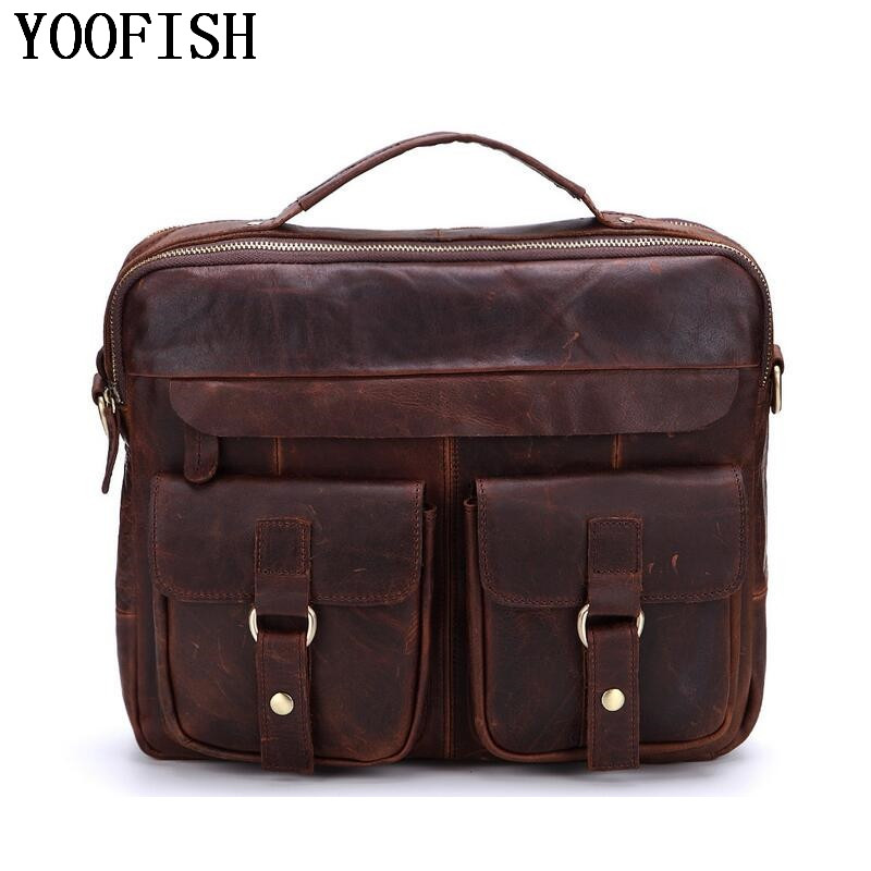 YOOFISH Men Handbag Casual Real Leather Tote Bags Genuine Leather Men Business Briefcase Men's Cow Leather Messenger Bag super hot 100% total cowhide men real leather business tote handbag messenger bag fashion casual men bag of whole cow leather