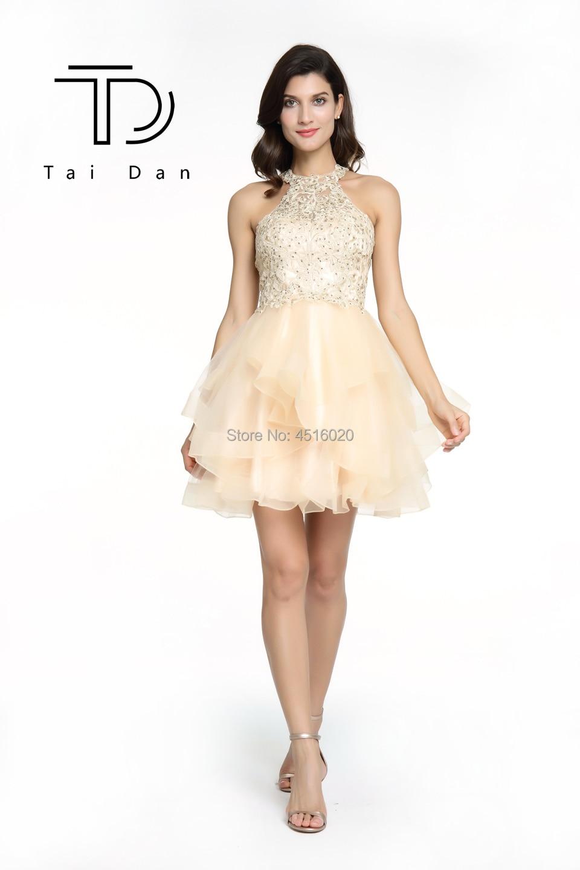 fbb1d0e6e1869 High-Neck Prom Dress Sleeveless Homecoming Prom Dress Short Embroidery  Shining Rainbow Stone Open-Back Bridesmaid Party Dress