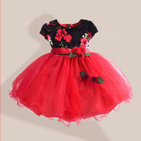 Autumn Girl Dress Rose Floral Short Sleeve Princess Baby Girls Lace Dresses With 3 Bow Belt