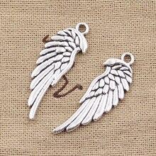 15 Uds. De dijes de alas de Ángel de doble cara, 33x12mm, colgantes de Color plata antigua, fabricación artesanal, joyería de Color plata tibetana