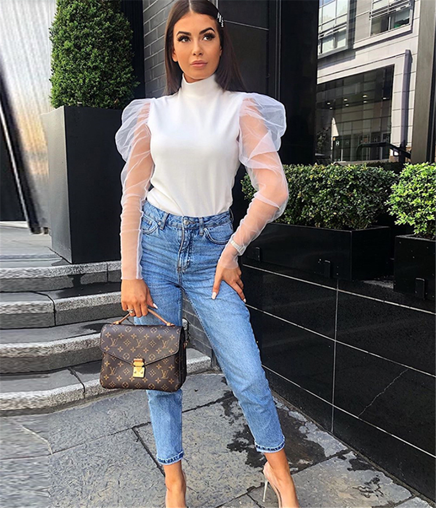 2019 New Fashion Women Sheer Mesh Puff Long Sleeve Turtle Neck Tops Ladies Girls Solid Blouse Shirts Black White