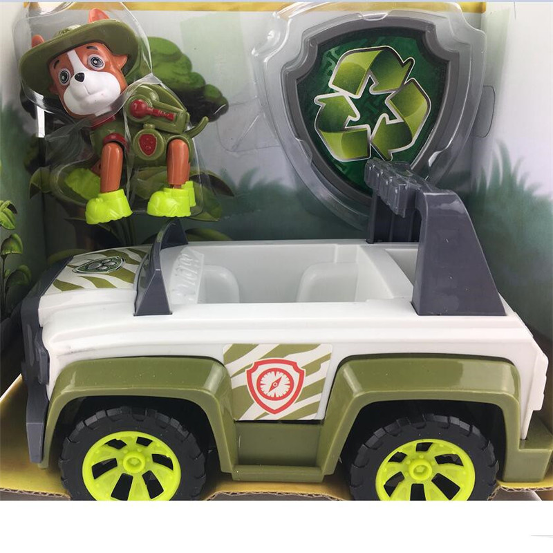 Tracker puppy  patrol dog Action figures back to power car with light and music puppy Patrulla Canina toy baby kids toy model anime puppy pow patrol dog action figures back to power car with light and music puppy patrulla canina toy baby kids toys