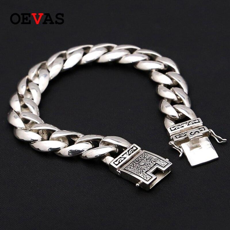 Bracelets de luxe en argent Sterling 925 homme ancien modèle polonais lien chaîne Bracelet pour hommes Vintage Punk Rock Biker bijoux pour hommes