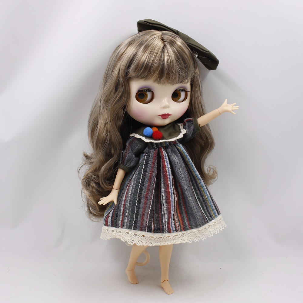 Neo Blythe Doll Stripe Printed Dress With Bowknot 5