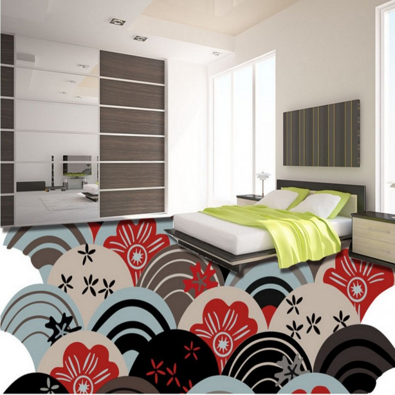 цены Free Shipping custom 3D abstract pattern tiles ground painting background wall self-adhesive wallpaper bedroom hotel floor mural
