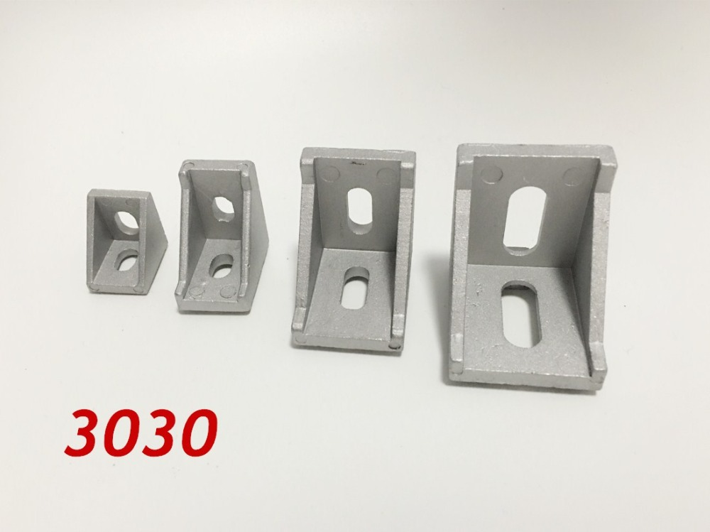 50pcs/lots 3030 Corner Fitting Angle Aluminum 35 X 35 L Connector Bracket Fastener Match Use 3030 Industrial Aluminum Profile