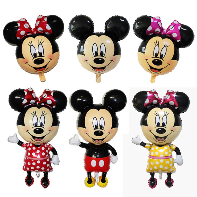 1Pc Mickey Mouse Minnie Head Foil Balloon Kids Birthday Party