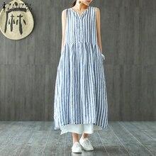 Women Sleeveless Blue Striped Shirt Dress Casaul Loose Cotton Linen Long Maxi Dresses ZANZEA Elegant Beach Party Vestido