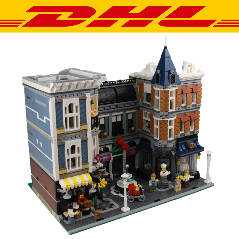 2018 New 4002Pcs MOC City Street Assembly Square Model Building Kit Blocks Bricks Toy For Children Gift Figures Compatible 10255 a toy a dream lepin 15008 2462pcs city street creator green grocer model building kits blocks bricks compatible 10185