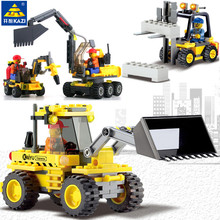 Купить с кэшбэком Kazi City Construction Excavator Building Block sets playmobil Compatible With Lego City Toys Brinquedos Educational Bricks Gift