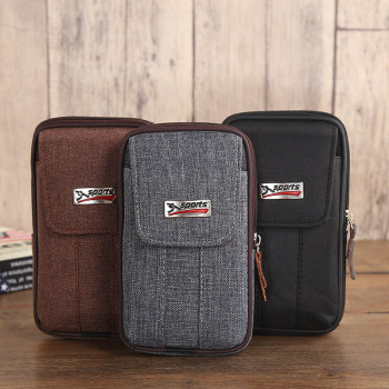 Cowboy Canvas Phone Pouch Belt Clip Bag for Samsung Case with Pen Holder Waist Bag Outdoor Sport
