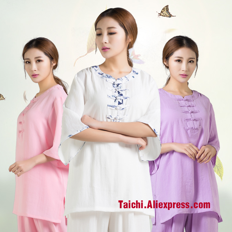 Linen Tai Chi Uniform Flax  Martial Art Short Sleeve For Women And Men Breathable And Comfortable Multiple Colour Free Shipping