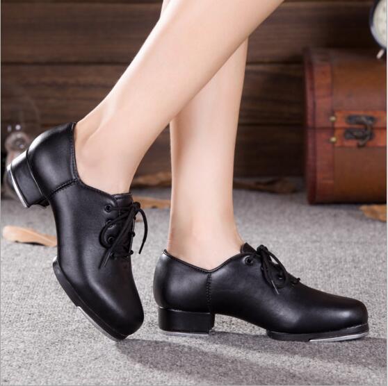b2cbe08cb1 Vaca Couro natural Ou PU Baixo Salto Lace Up Sapatos de Sapateado Adulto  Profissional de Dança Preto Sapatos Para Mulheres em Sapatos de dança de  Sports ...