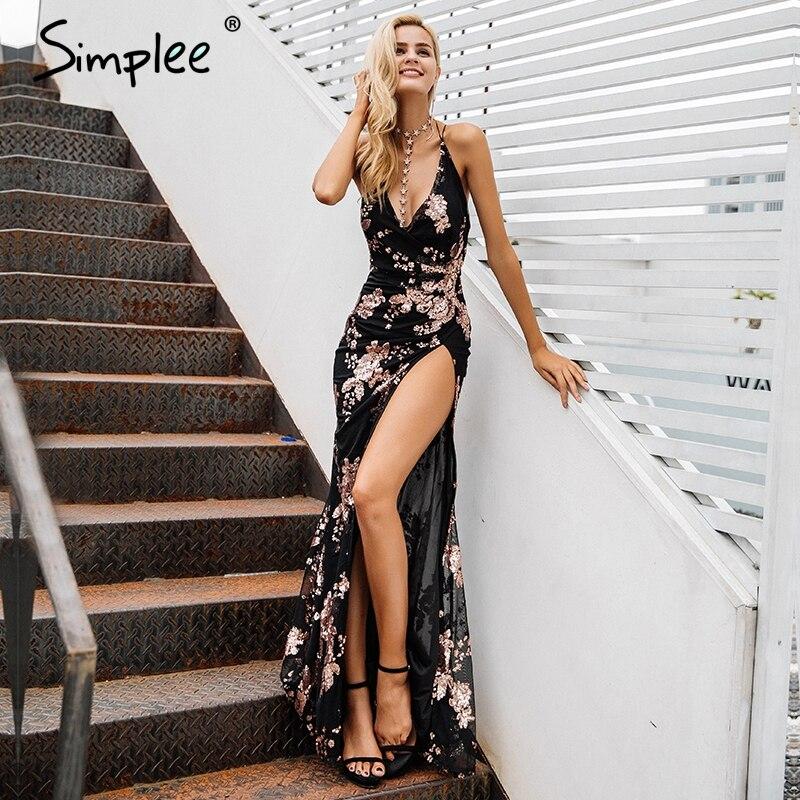 Simplee Sexy à lacets licou sequin robes de soirée femmes haute split maxi robe festa femme noël 2018 longue robe vestidos