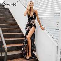 Simplee Sexy lace up halter lentejuelas vestidos de fiesta mujeres alta split maxi vestido festa mujer Navidad 2018 vestidos largos