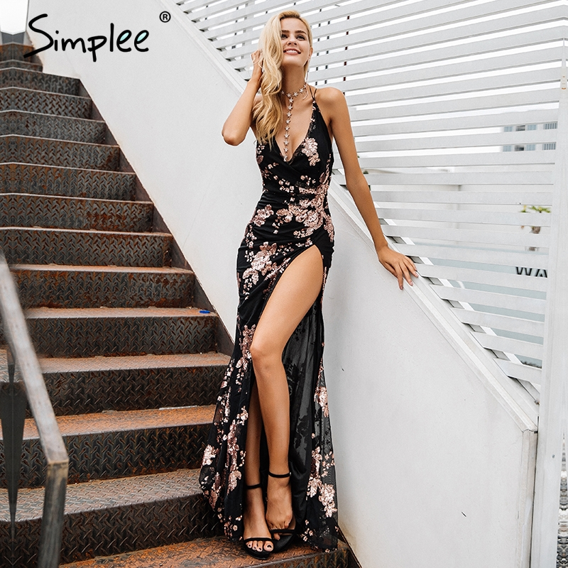 Simplee <font><b>Sexy</b></font> lace up halter sequin <font><b>party</b></font> dresses women High split maxi dress festa female Christmas <font><b>2018</b></font> long dress vestidos image