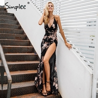 Simplee Sexy Lace Up Halter Sequin Party Dresses Women Blackless High Split Maxi Dress Womens Clothing