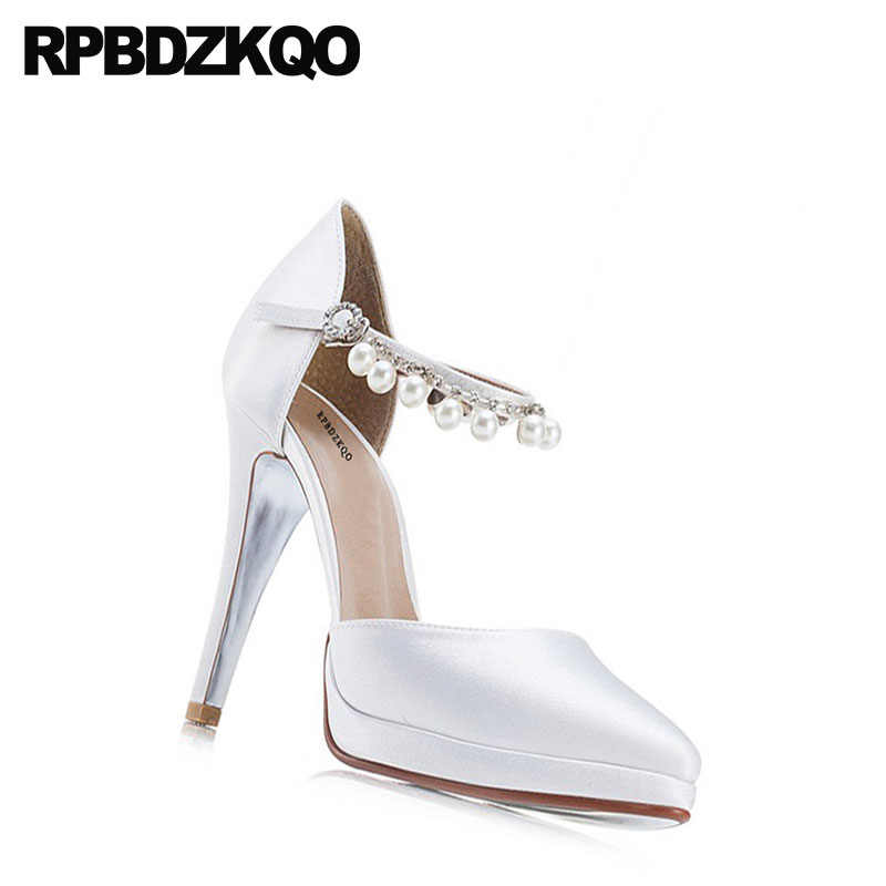 0a20f7f790c ... Pumps White Ladies Scarpin Ankle Strap Wedding Ultra Extreme Ivory  Bridal Shoes Silk High Heels Pearl ...