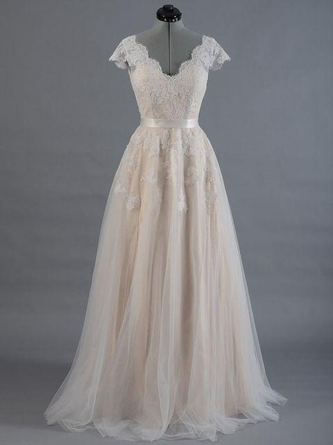 Товар Vestido de novia Lace A-line Wedding dress Cap sleeve V-back ... e6d67223ed92