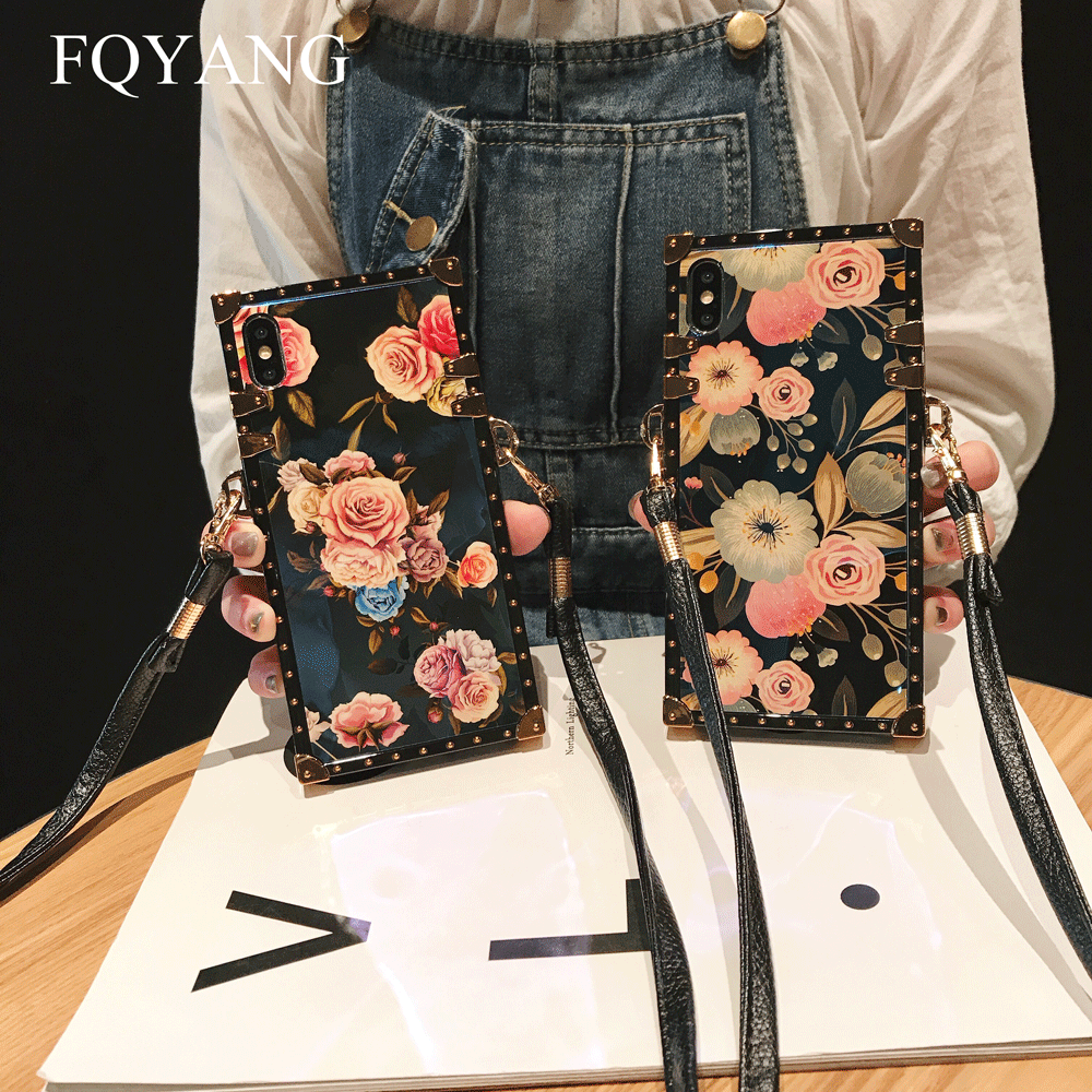 FQYANG Luxury Square Blu-Ray Rose Phone Case For SAMSUNG S10 PLUS S8 S9 S10LITE Flower Cases For SAMSUNG NOTE 9 8 With Lanyard