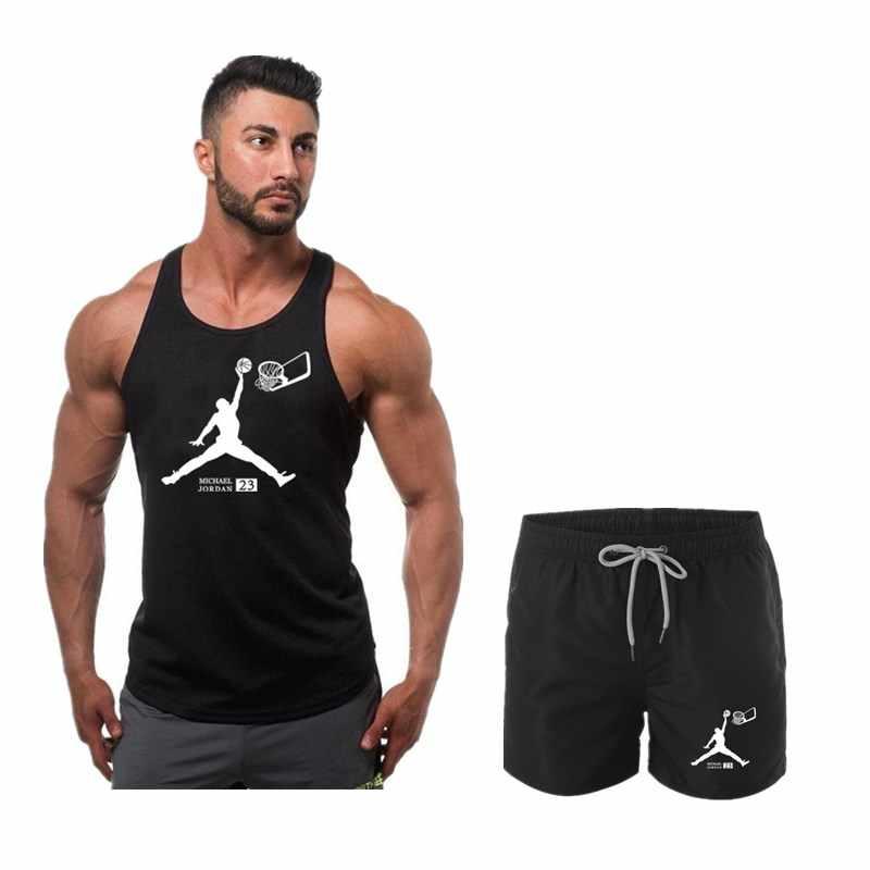 23 ירדן קיץ חם גברים של חליפת אפוד + מכנסיים שני סטים של מקרית ספורט גברים של וסטים היפ הופ חדר כושר כושר מכנסיים