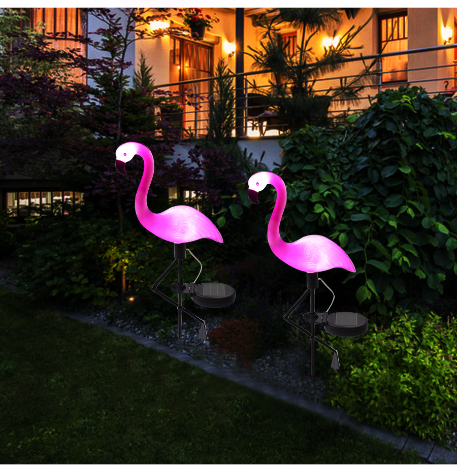 LED Solar Flamingo Stake Light Lantern Solar Powered Pathway Lights Decorative Outdoor Lawn Yard Lamp For