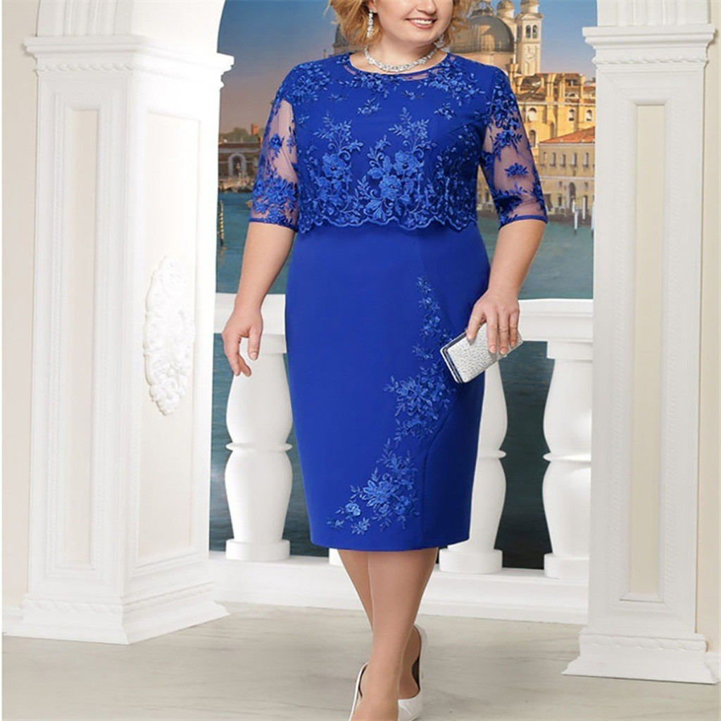 dress women summer 2020 Women Lace Short Sleeve Midi  Ladies Evening Party Dress plus size beach dress summer 2020