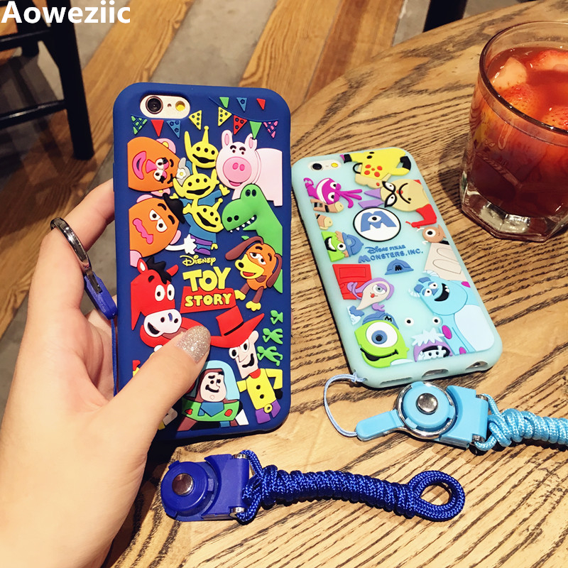 Aoweziic university Phone Case For iPhone 7 6s 8Plus all-inclusive protective sleeve halter rope lovely soft silicone women