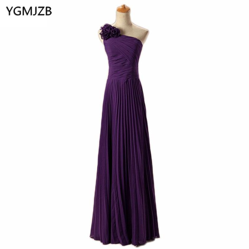 Cheap Chiffon Bridesmaid Dresses Long 2018 A-Line One-Shoulder Handmade Flowers Red Blue Green Purple Wedding Party Dress 2018