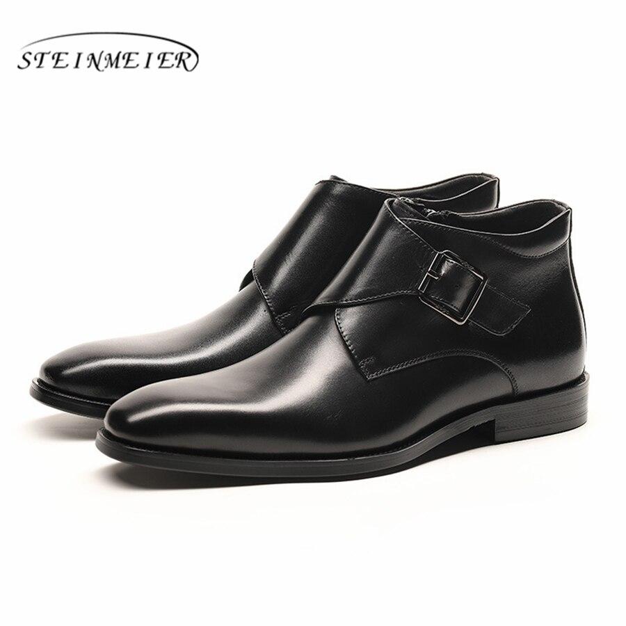 Ayakk.'ten Basic Çizmeler'de Erkekler kış Çizmeler Hakiki inek deri chelsea çizmeler brogue rahat ayak bileği düz ayakkabı Rahat kaliteli yumuşak 2019 kahverengi siyah'da  Grup 1