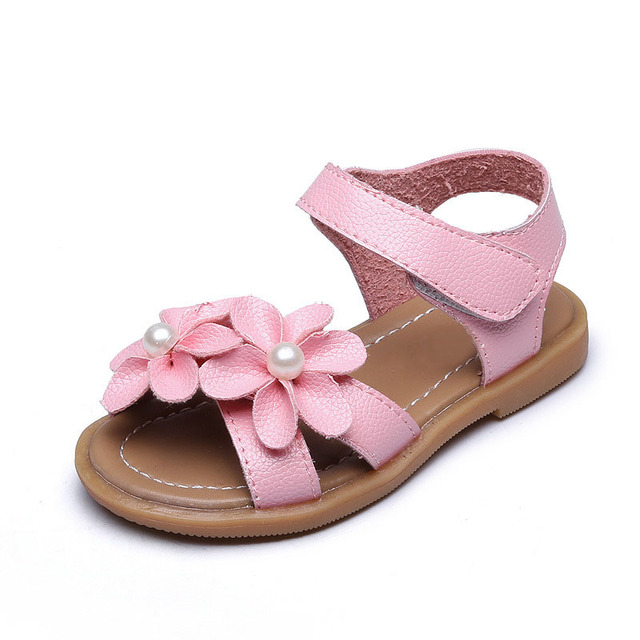 3e8065020bf4d Cute Flowers Girls Sandals Soft PU Leather Summer Girls Shoes White Pink  Red 3colors Beach Kids Shoes Length 14-19cm CSH368