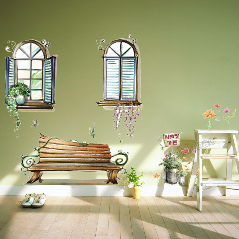 Mabao Fake Window Curtains DIY Wall Sticker Home Decor For Living ...