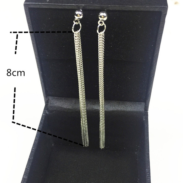 New Fashion Golden Silver Plated Dangle Hanging Black Rhinestone Long Drop Earrings 5